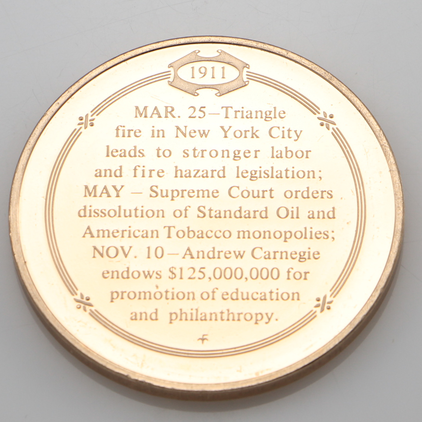 Details about Franklin Mint 1911 Andrew Carnegie Sparks Growth Of  Philanthropy Bronze Coin