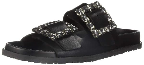 LFL by Lust for Life Women/'s  Keeper Slide Sandal Black Rhinestone Mule Sandal