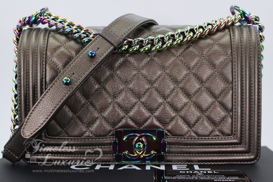 a3efcc638360 The much sought after CHANEL Bronze Iridescent Goatskin Quilted Boy Flap  with Rainbow Hardware from 2016 Cruise Collection, in 'medium/ old medium'  size.