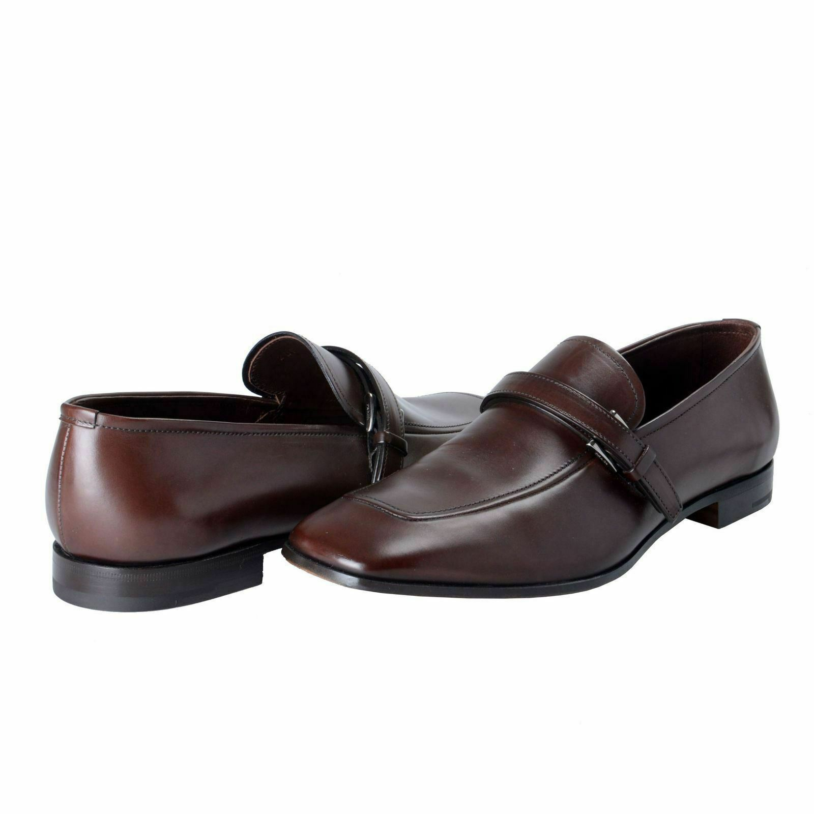 f44a2de9b4b Details about Prada Men s Chocolate Brown Leather Loafers Slip On Shoes US  11 IT 10 EU 44