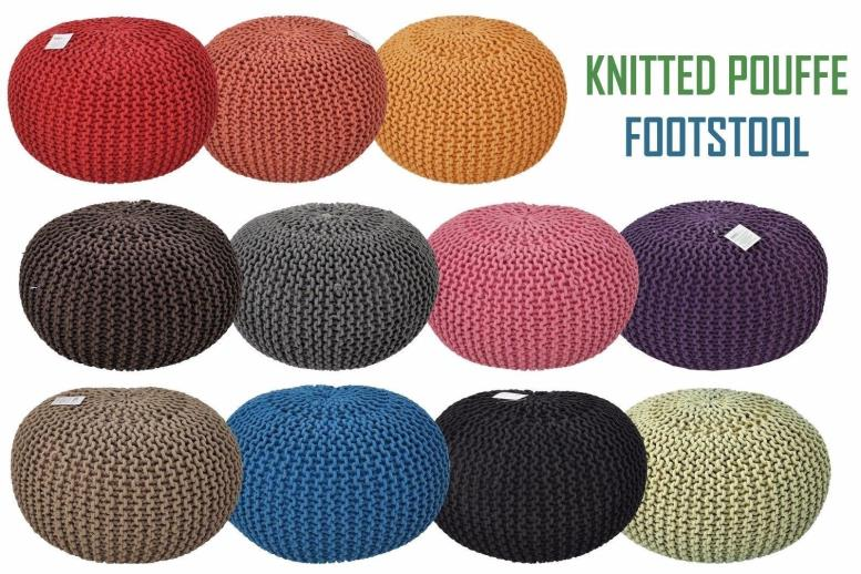 40 50 60cm Large Moroccan Knitted Pouffe Footstool Cushion