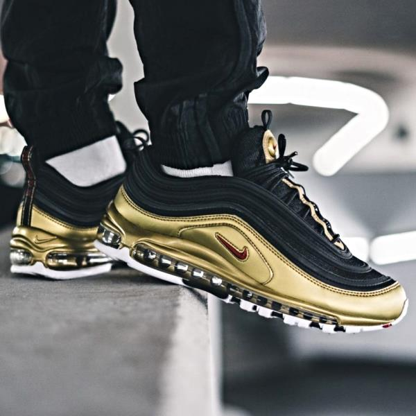 brand new 2f7a8 24f5e Details about Nike Air Max 97 QS Black Gold Size 7 8 9 10 11 12 13 Mens  Shoes New AT5458-002
