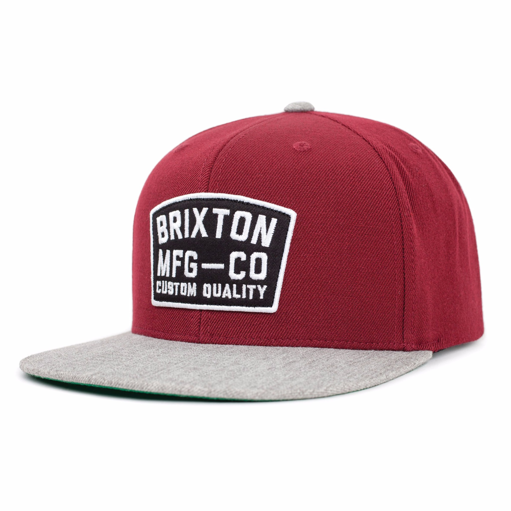 Brixton Cap National Burgundy Light Heather Grey Snapback Skateboard Hat