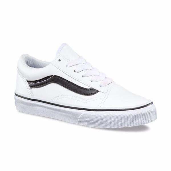 f8075ae6d7 Details about Vans Old Skool White Leather Kids Shoes