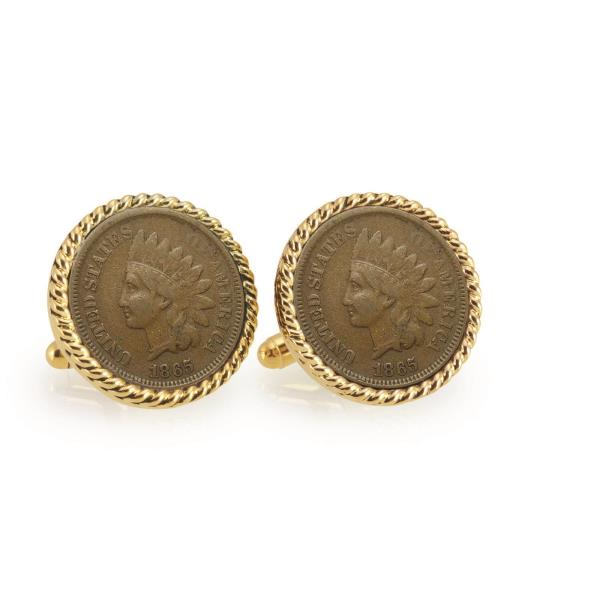 American Coin Treasures Gold-Layered Liberty Nickel Goldtone Rope Bezel Cuff Links
