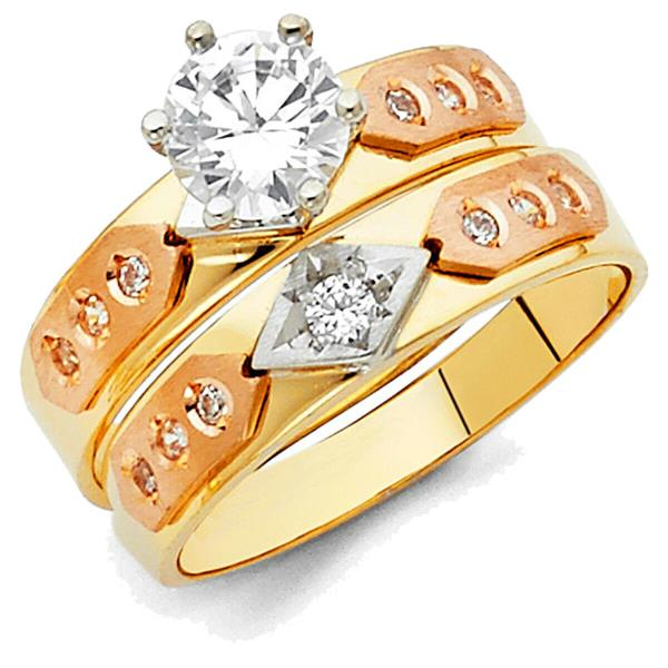 Size 12 Jewel Tie Solid 14k Two Toned Gold Cubic Zirconia CZ Round Mens Wedding Ring Band