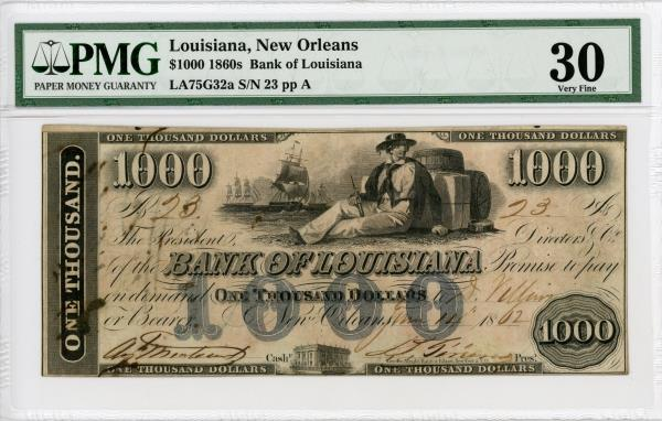 Details about 1862 $1000 The Bank of Louisiana - New Orleans, LOUISIANA  Note PMG Very Fine 30
