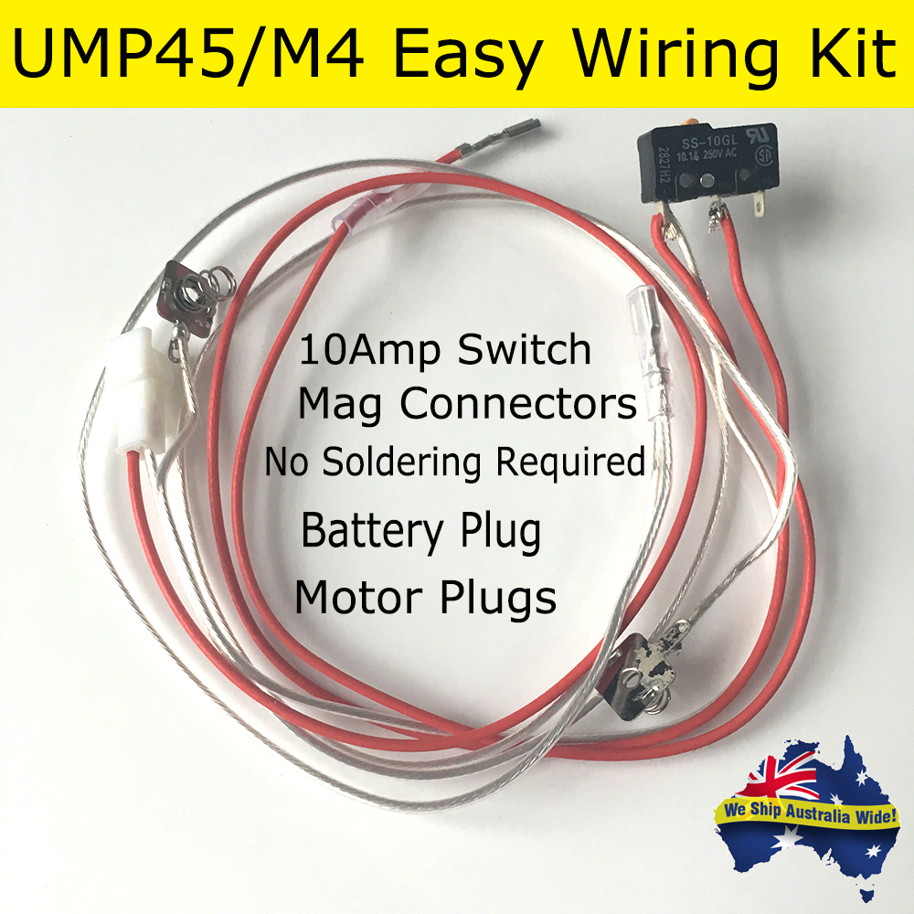 Wiring Male Plug Australia Gel Ball Blaster M4 A1 Ump45 Silver Wire Wires Kit 10 A Amp Wiringwires Color Send Random Connectors Omron Upgraded Switch Battery Magazine Contacts