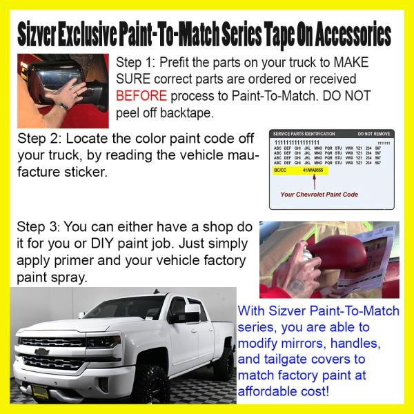 Details about FOR 2014-2018 CHEVY SILVERADO TAPE ON BASE COLOR HANDLE  COVERS PAINT TO MATCH