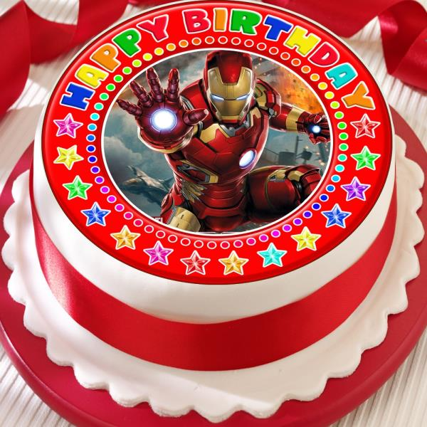 IRONMAN PRECUT EDIBLE RED HAPPY BIRTHDAY CAKE TOPPER DECORATION