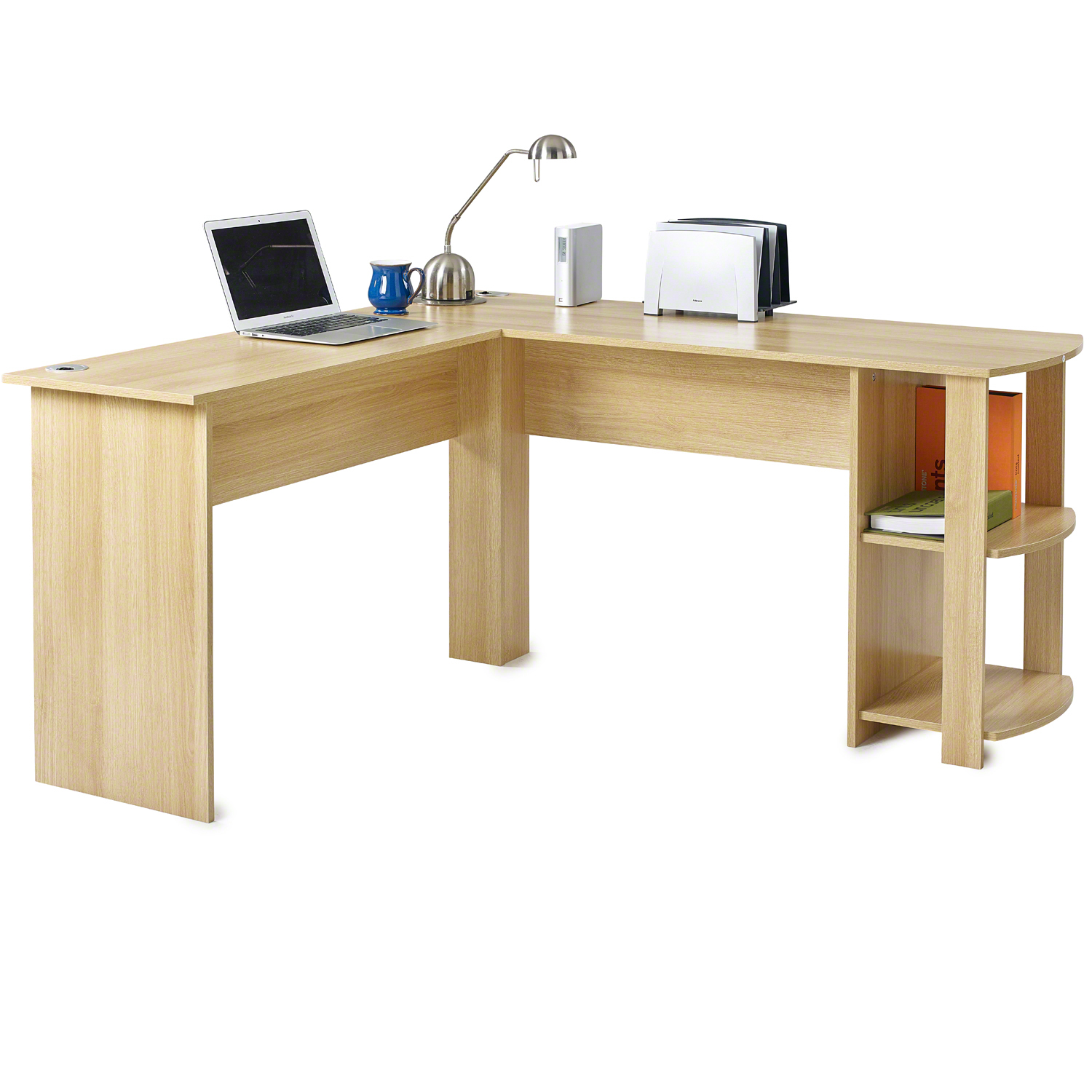 L Shaped Office Computer Desk Large Corner Pc Table With 2 Shelves