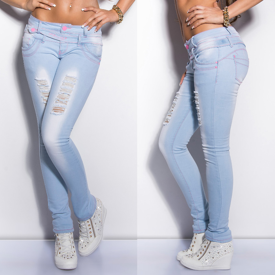 932e713996a Details about Womens NEW Ripped Skinny Jeans Light Blue Washed Designer  Pants Sexy Size 6 - 14
