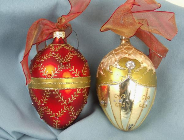 hand painted jeweled blown glass christmas ornaments red gold ooak - Blown Glass Christmas Ornaments