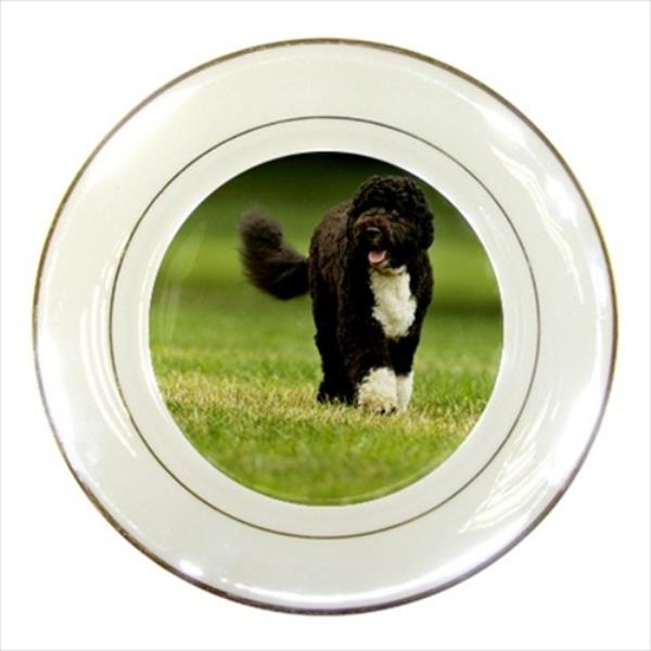 Puppy Dog Tibetan Spaniel Porcelain Plate w// Display Stand