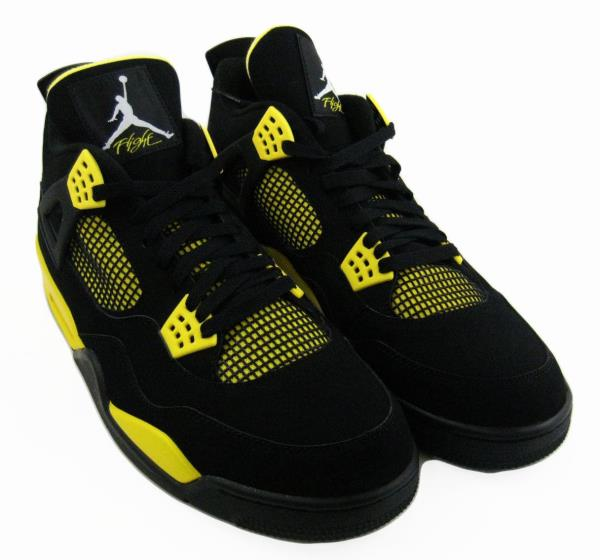 12d9dcaf5dd501 2012 NIKE AIR JORDAN 4 RETRO TOUR YELLOW SZ 14 THUNDER BLACK 308497 ...