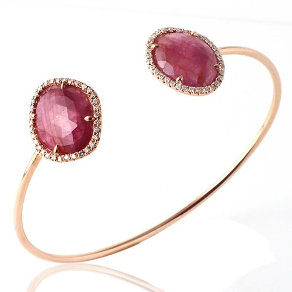Luxo Jewelry News Letter - Premium Jewelry - Rose Cut Sliced 9.98 CT Pink Sapphire 0.39 CT Diamonds 14K Rose Gold Bangle »NP1
