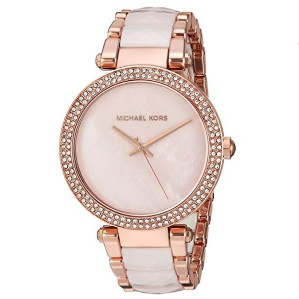 a16fb63c445b The Michael Kors Parker watch exudes glamour. Polished rose gold-tone and  faceted blush acetate center links alternate on the bracelet