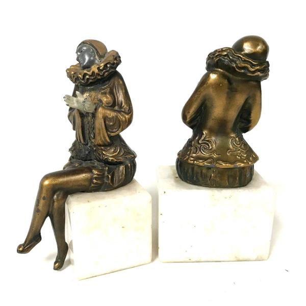 Antiques Pair Of Antique Marble Base Book Ends With Metal Victorian Lady