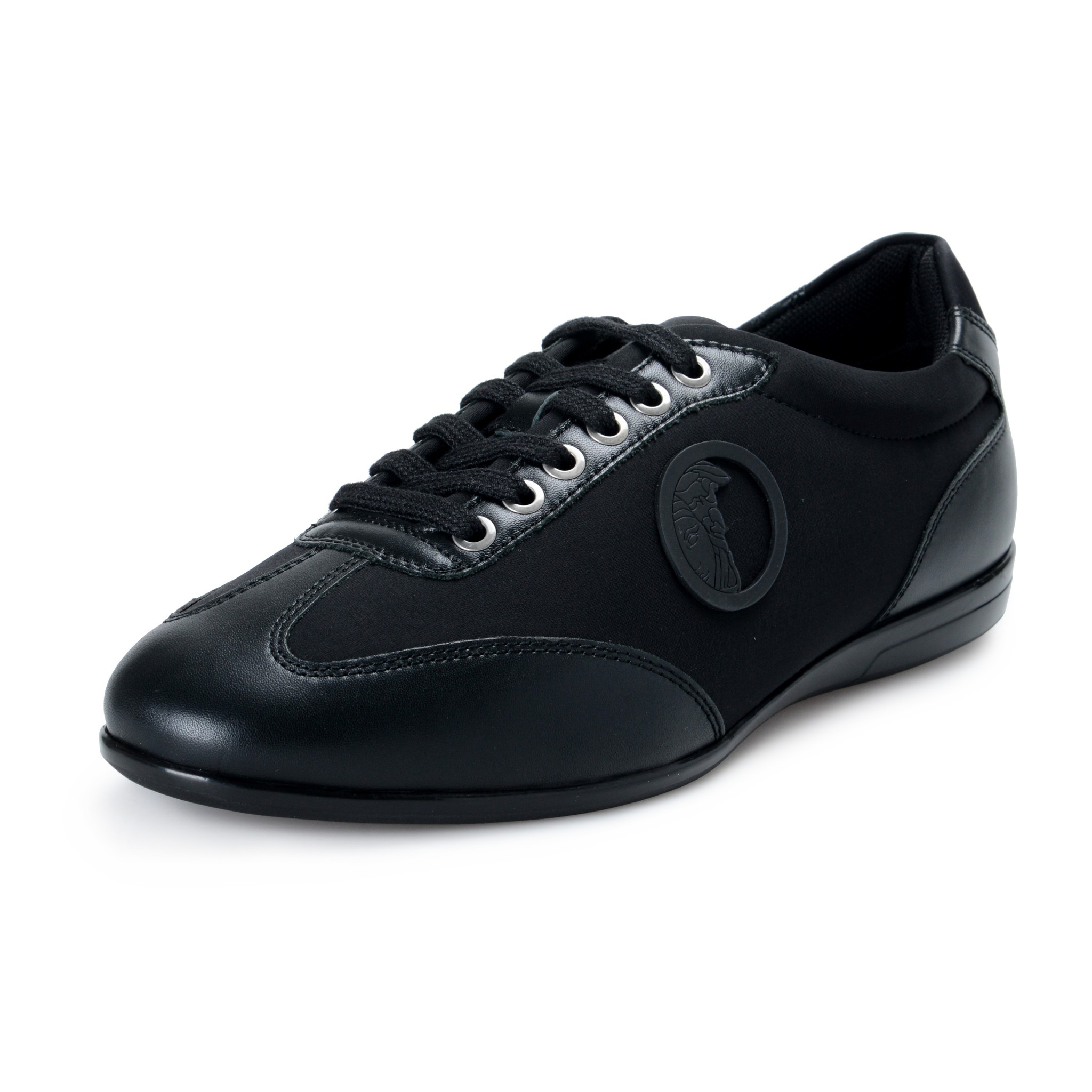 Details about Versace Collection Men's Black Leather Canvas Lace Up Fashion  Sneakers Shoes
