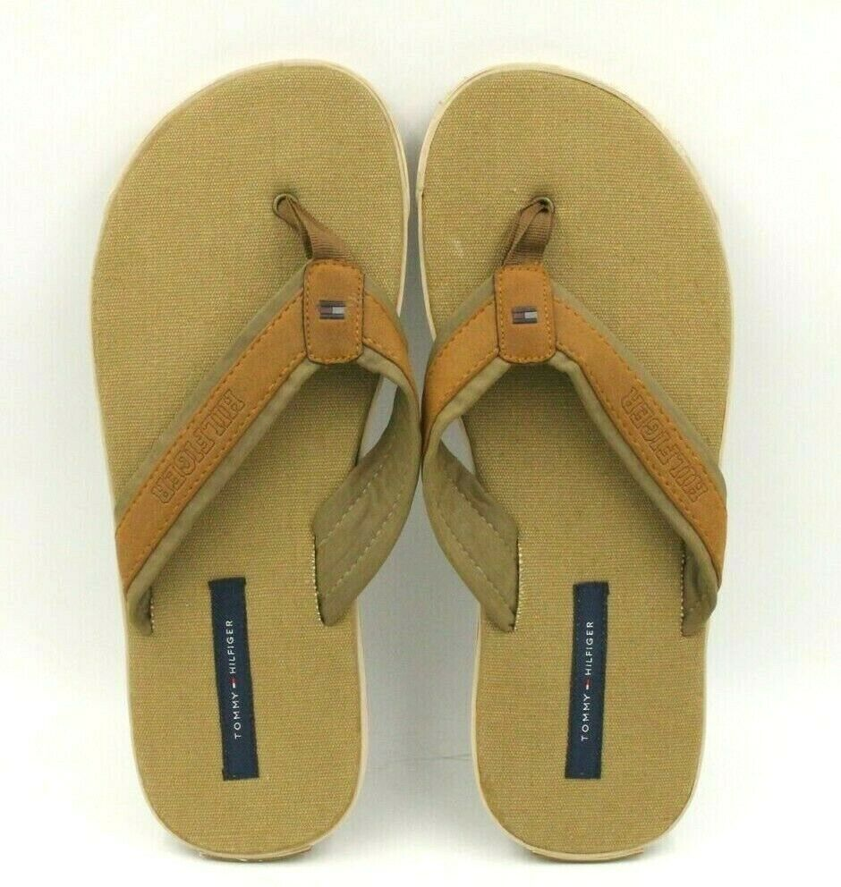 dcc9cec05 TOMMY HILFIGER Bums Men Flip Flops Size US 13.5 Brown