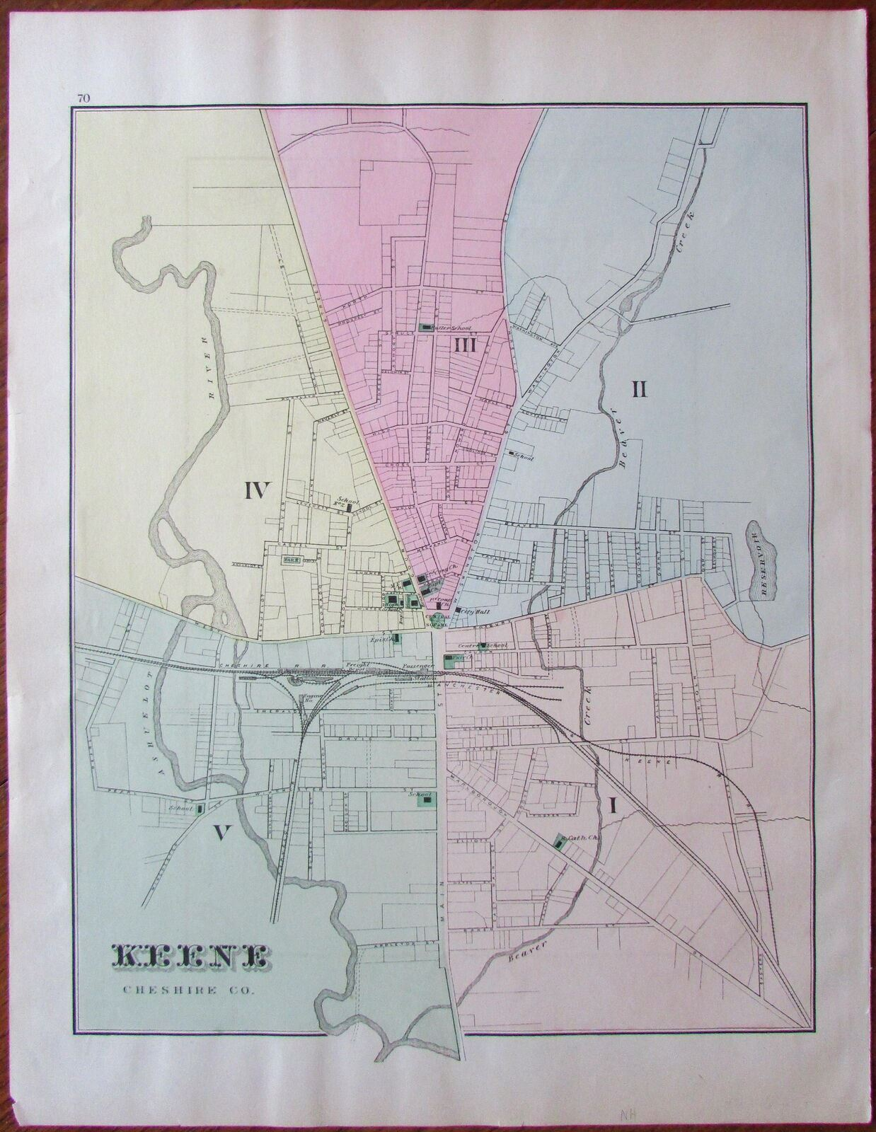 Keene New Hampshire city plan Cheshire County c.1871 old hand ... on methuen nh map, brattleboro nh map, peabody nh map, mansfield nh map, manchester nh on map, cheshire nh map, walpole nh map, plymouth nh map, westminster nh map, franklin nh map, jacksonville nh map, newburyport nh map, monadnock mountain nh map, connecticut new england map, lancaster nh map, nh state road map, keene new hampshire, buffalo nh map, peterborough nh map, hooksett nh map,