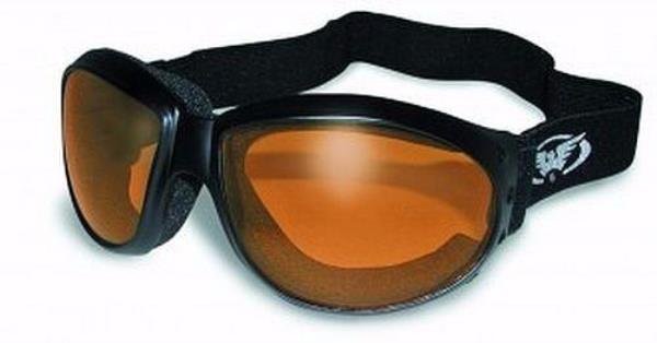 Global Vision Adventure Folding Padded Motorcycle Goggles Black Frames with Purple Lenses