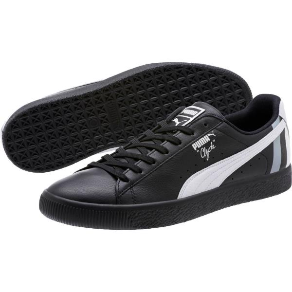 new concept 3638f 0e7f4 Details about [367539-01] Mens Puma Clyde Stripes Sneaker - Black White