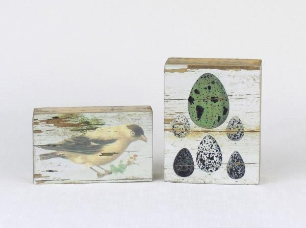 2 PRIMITIVES BY KATHY Wood Box Signs Plaques WALL ART Bird & Eggs | eBay