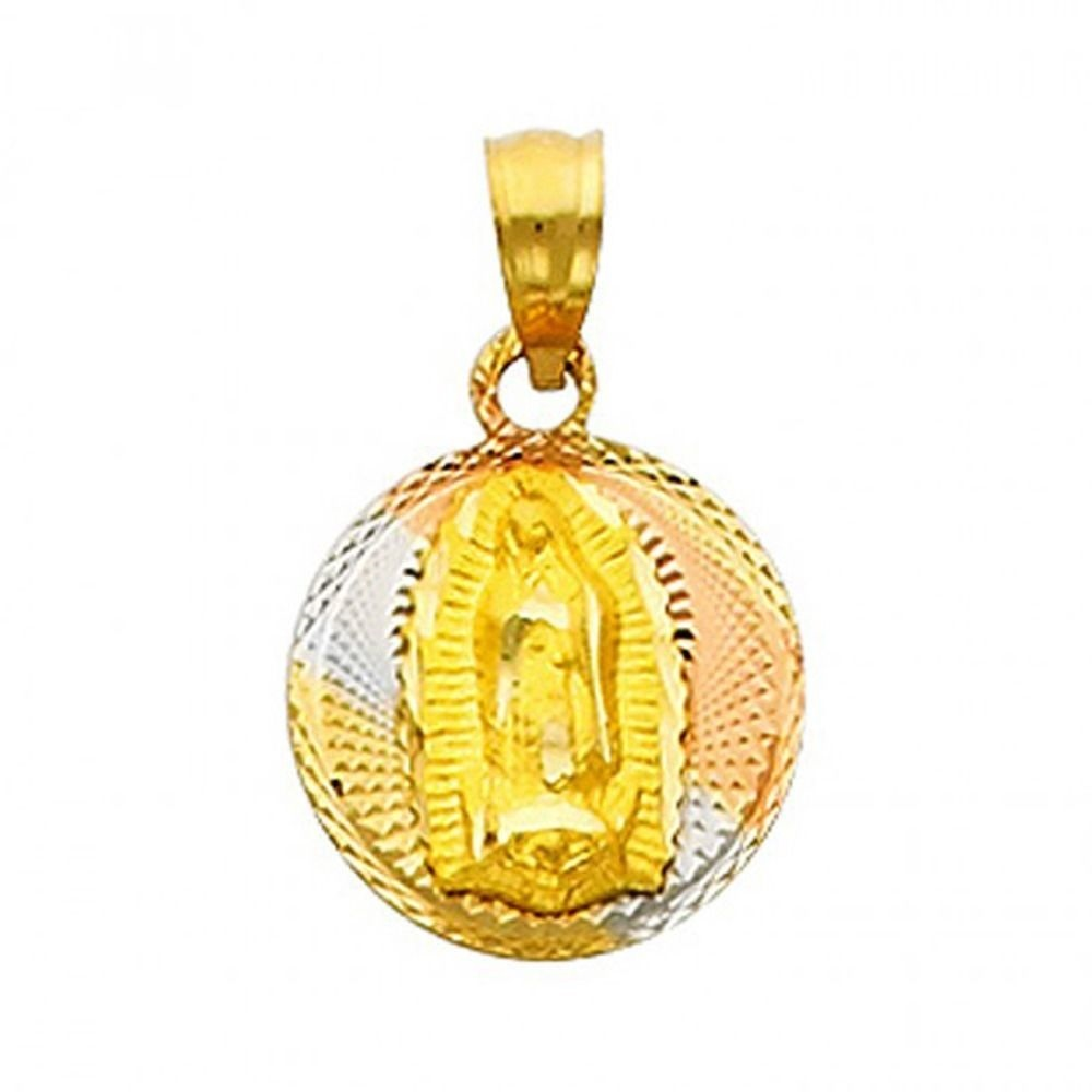 "14K Solid Tri-Color Diamond Cut Gold /""Virgen de Guadalupe/"" Stamp Charm Pendant"