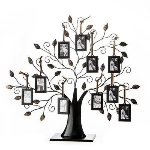 Bronze Finish Metal Family Tree Photo Stand Picture Collage 10
