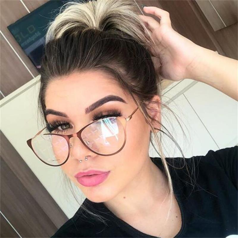 2785bb79acb91 Metal Cat Eye Glasses Frame Hollow Out Spectacles Clear Optical Shades  Fashion