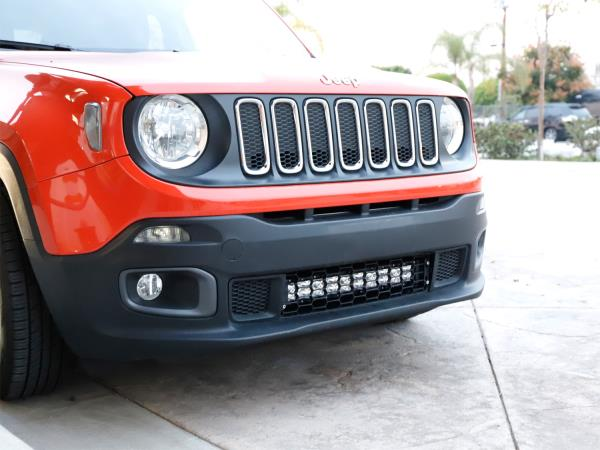 20 120w led light bar w behind grille mounts wiring for 2015 up give your jeep renegade a subtle yet powerful led lighting aloadofball Images