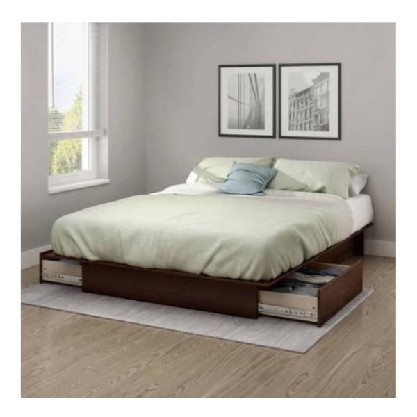 full queen size royal cherry wooden platform bed frame under bed storage drawers ebay. Black Bedroom Furniture Sets. Home Design Ideas