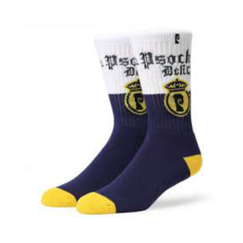 Psockadelic Socks Cerveza White Navy SIZE OSFM Skateboard Sox By Slash & Figgy
