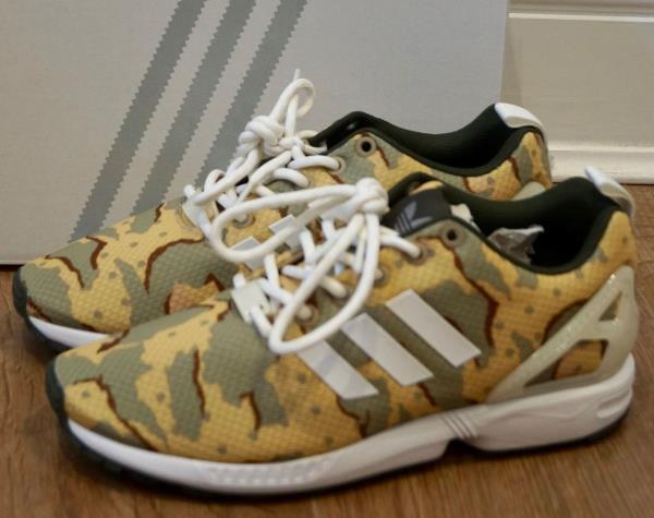 sports shoes 5036e 39bf4 Details about ADIDAS ZX FLUX CUSTOM Women's Camo Yellow Green White  Trainers UK6 - NEW IN BOX