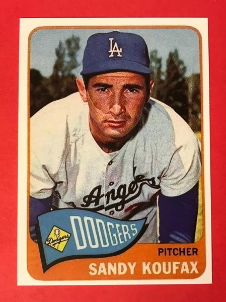 Details About Sandy Koufax 1965 Topps Baseball Card 300 Reprint Los Angeles Dodgers