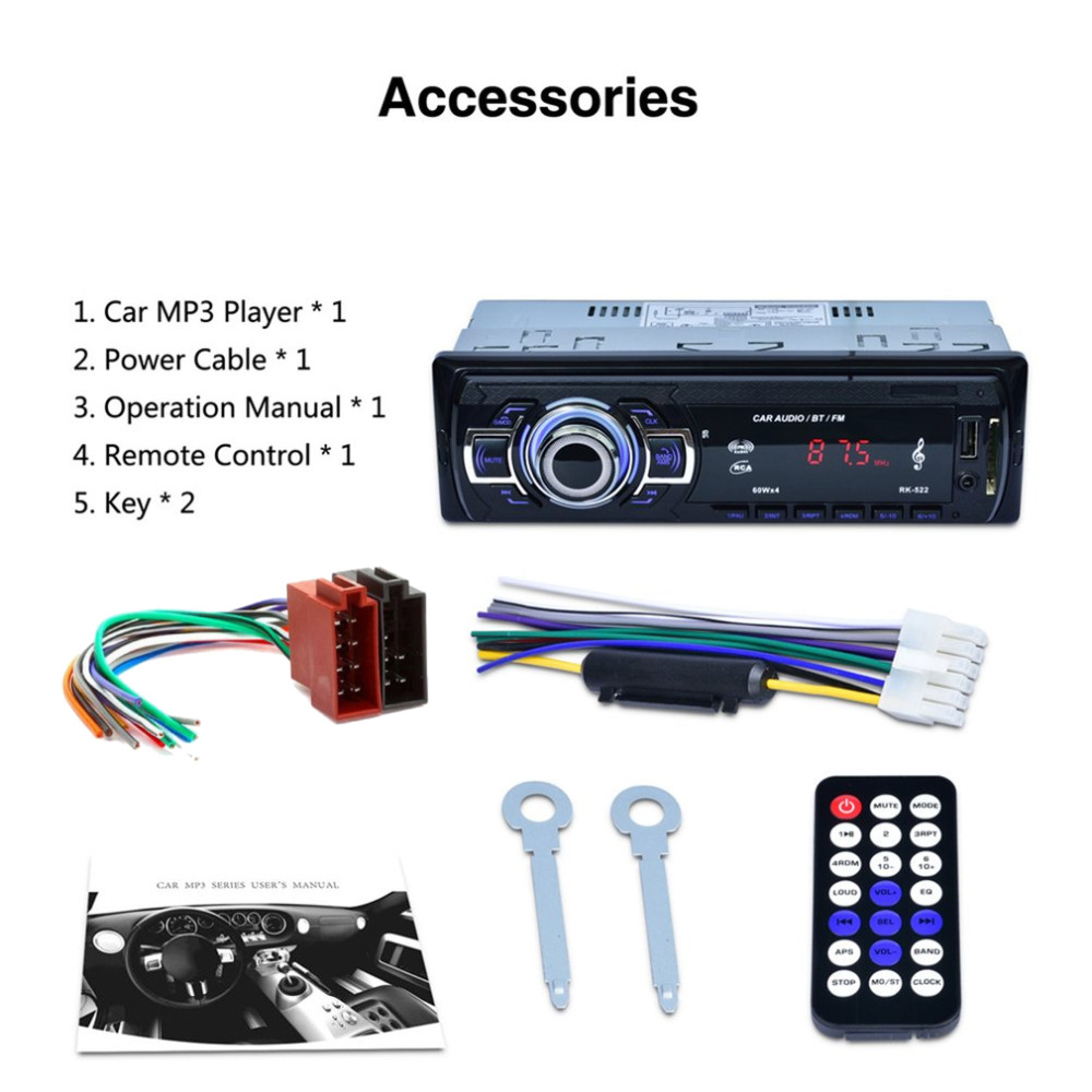 Single DIN Bluetooth A2DP AUX USB SD Mechless Car Radio