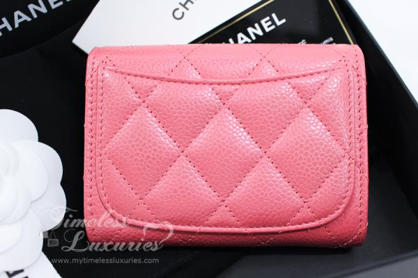 7597b1a7894ad6 New Chanel 18s Pearly Pink Caviar Xl Card Holder Back Pocket