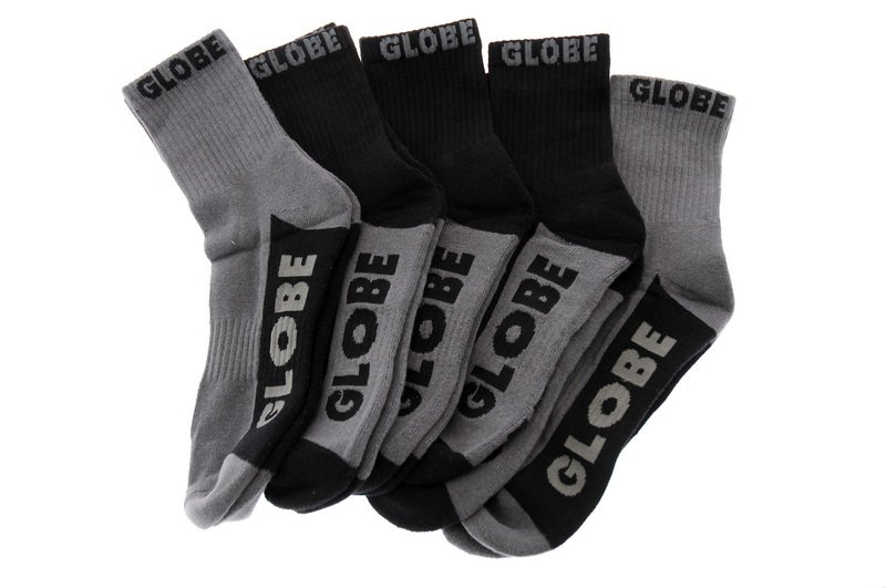 Globe Socks 5 Pack Black Grey Crew Black Grey Size 7-11 Skateboard Sox FREE POST