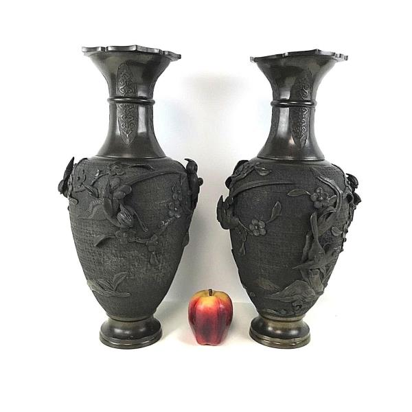 Pair Of Antique Japanese Bronze Vase W Bird Flower High Relief Ebay