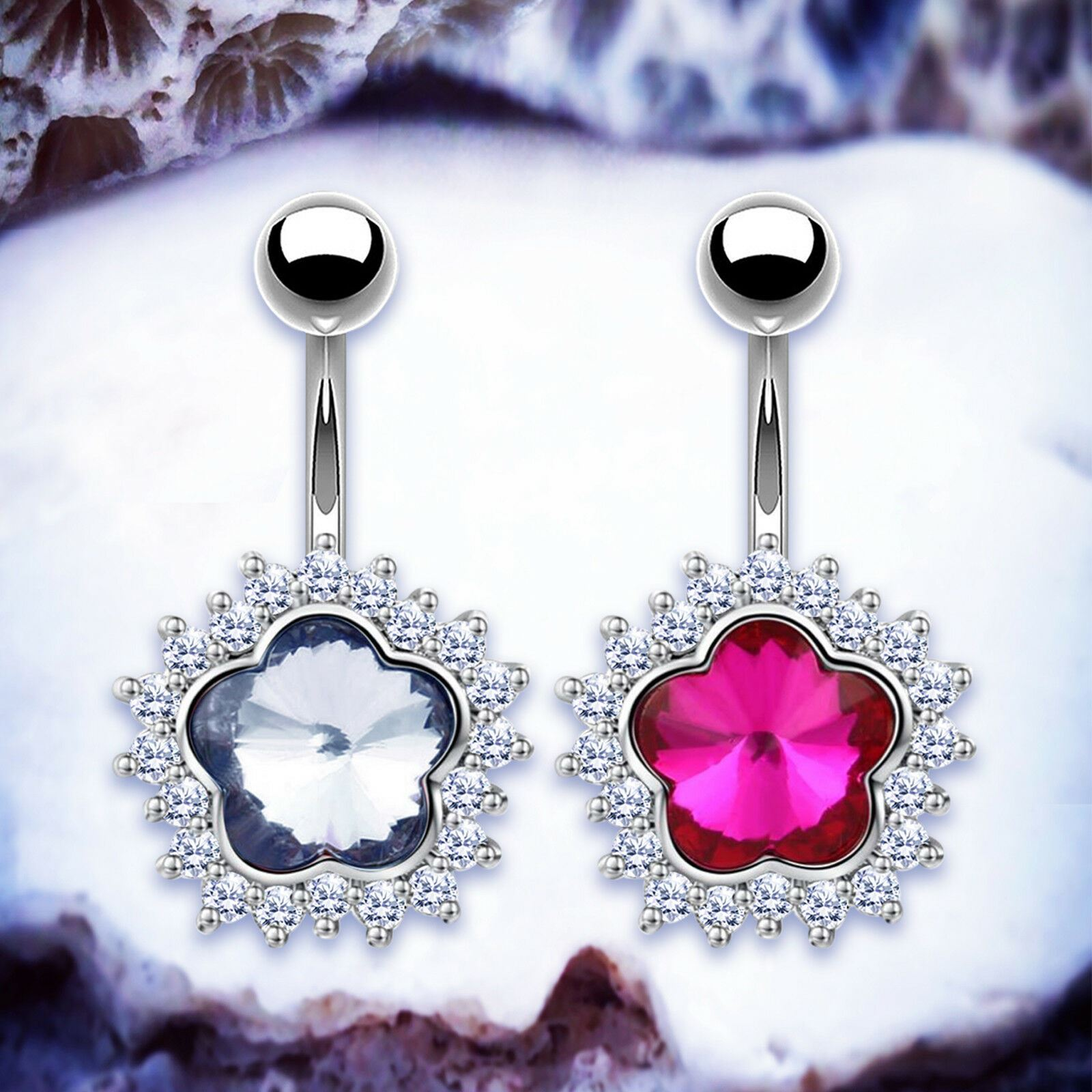 Details About Beau Gem Pink Belly Bar Silver Navel Piercing Belly Button Bars Piercing Rings