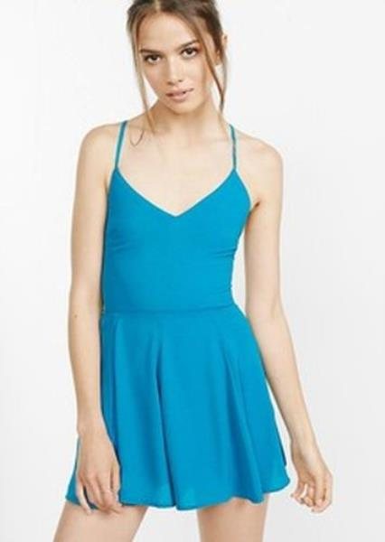 eae7c172d755 New Express Teal Strappy Tie Back Cami Romper 12