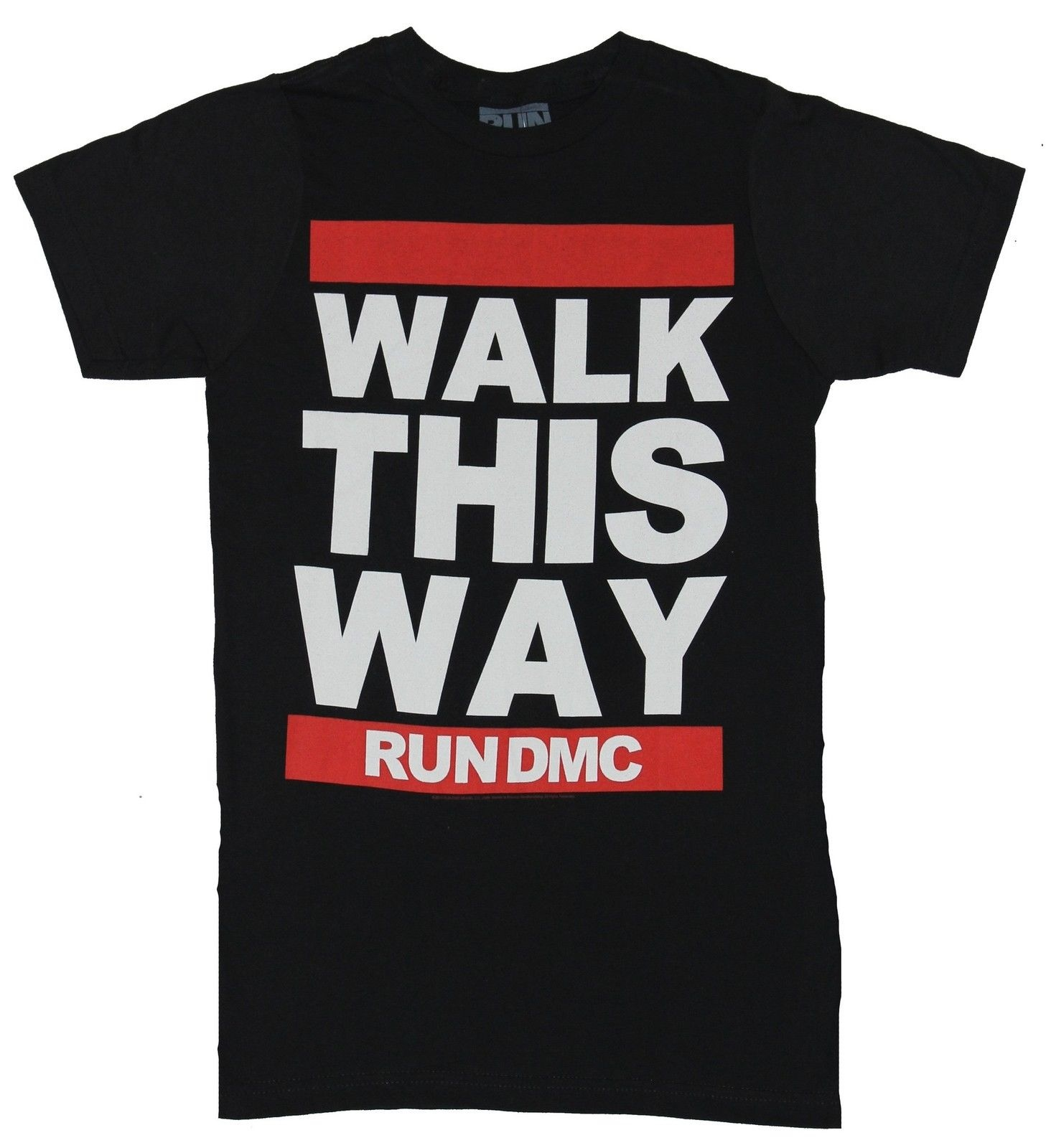Run Dmc Mens TShirt  Walk This Way Block Letter Lined Image  Ebay
