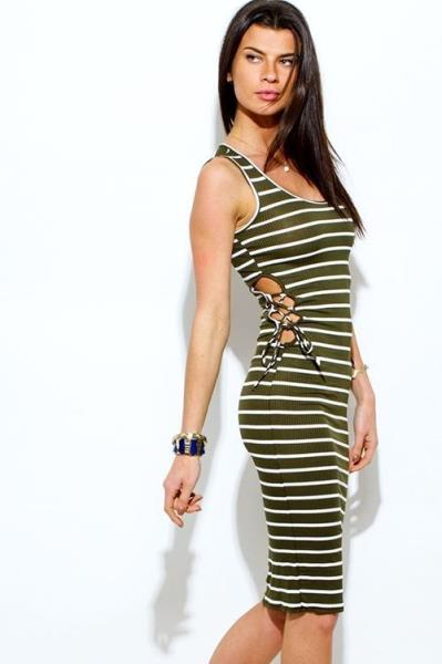 4adab8b9c52 Details about NEW OLiVE GReeN Striped RiBBeD Knit Cut Out Lace-Up Sides  SeXy Midi Dress Size L