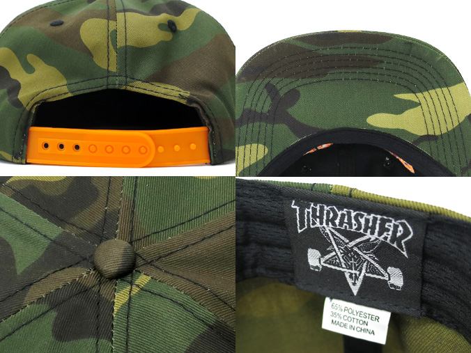 Thrasher Cap Rope Snapback Camo Orange Skateboard Mag 6 Panel Adjustable OSFA