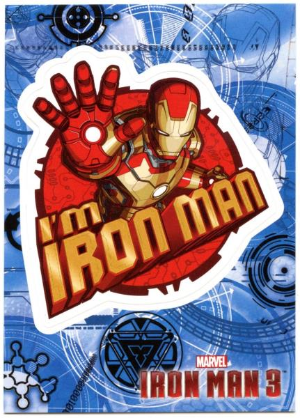 I/'m Iron Man #IM3-5 Iron Man 3 Upper Deck 2013 Marvel Trade Card Sticker C2071A