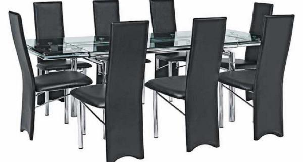 Argos Savannah Black /Clear Glass Extend Dining Table And 6 Cream Chairs