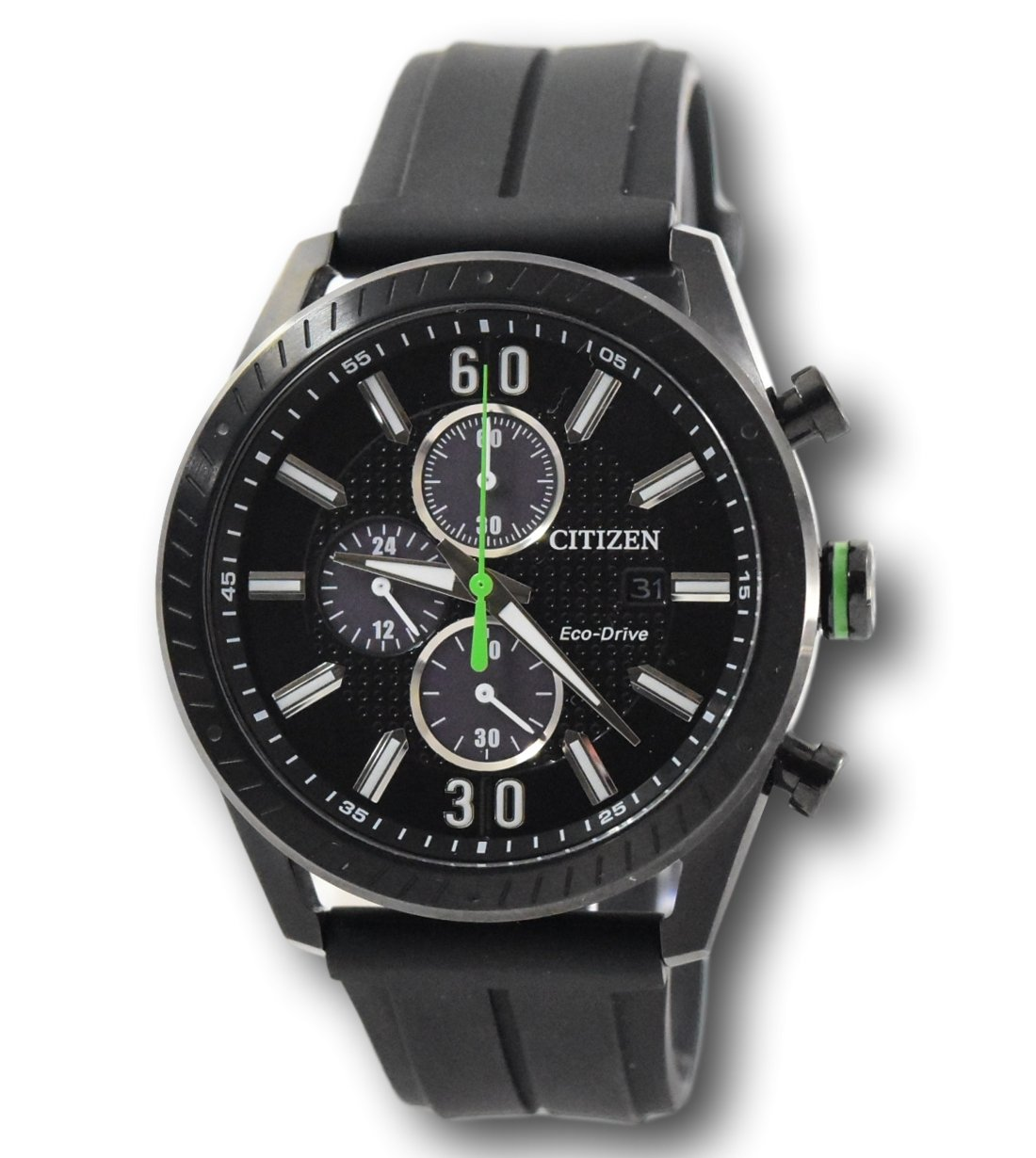 0335cbbe8 Citizen Eco-Drive Men's CTO Green Accents Black Poly Band 43mm Watch ...