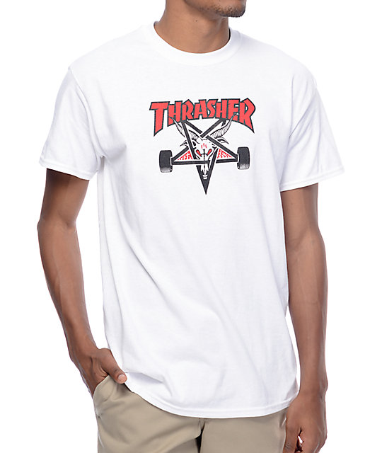 Thrasher Tee Two Tone Skate Goat White FREE POST Skateboard Magazine T-Shirt