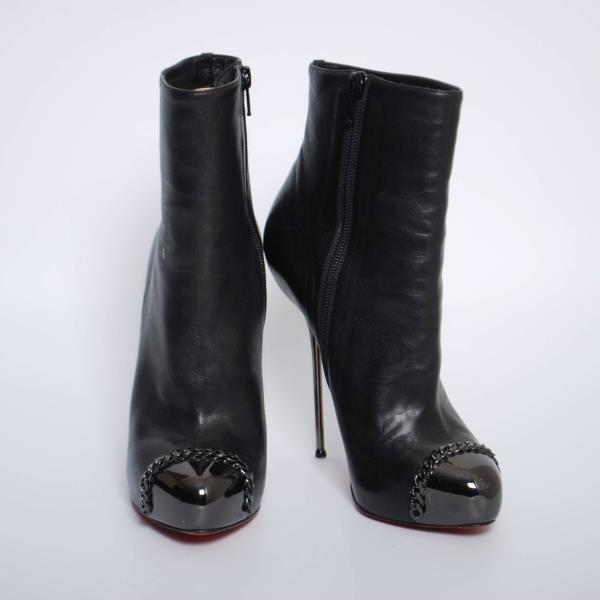 buy online dc37a 3f083 Details about Christian Louboutin Black Leather High Heels Ankle Boots  Stilettos Booties US7.5
